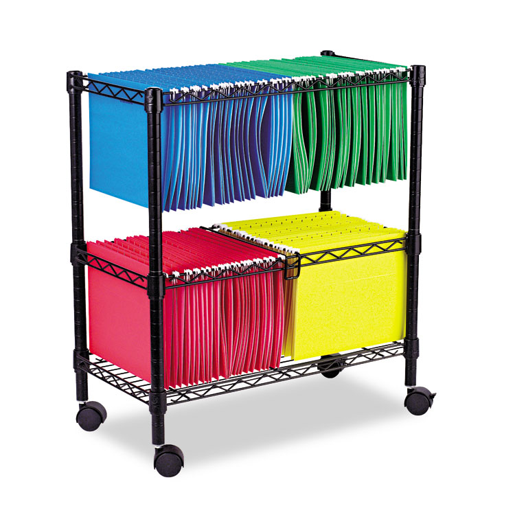 Two Tier Rolling File Cart 26w X14d X