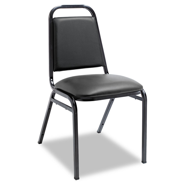 Alera® Padded Steel Stack Chair W/Square Back, Black Vinyl, Black ...