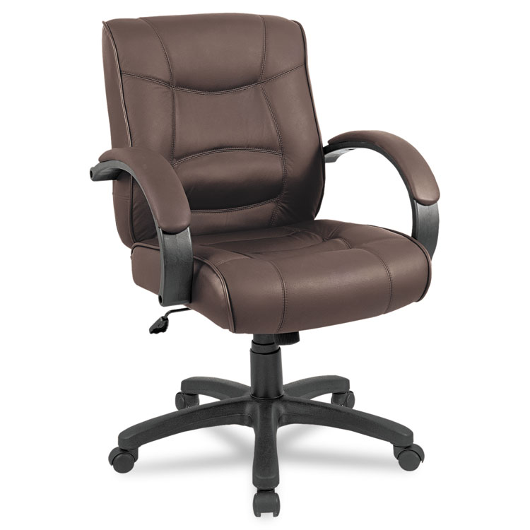 alera strada series mid back swivel tilt chair w brown top grain