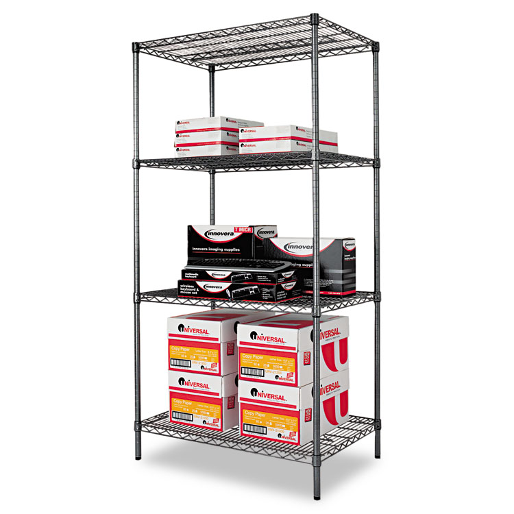 Alera Industrial Kitchen Carts At Lowes Com: Alera® Wire Shelving Starter Kit, Four-Shelf, 36w X 24d X