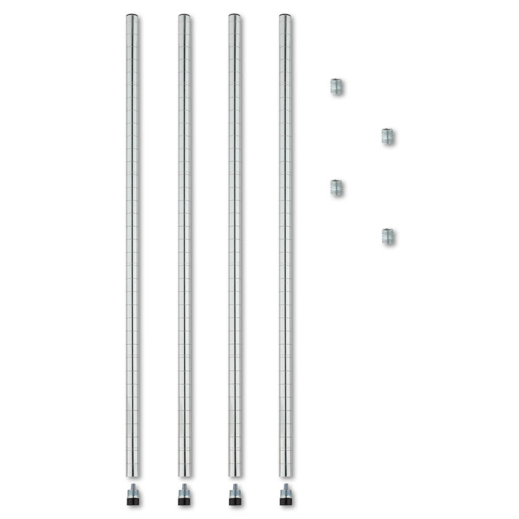 Alera® Stackable Posts For Wire Shelving, 36″ High, Silver, 4/Pack ...