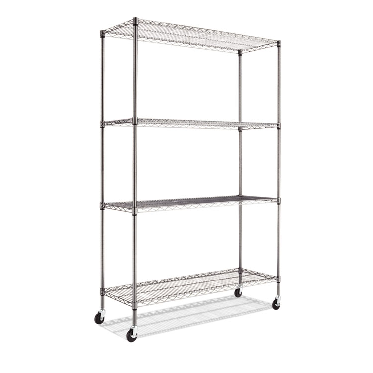 Alera® Complete Wire Shelving Unit w/Caster, Four-Shelf, 48 x 18 x ...