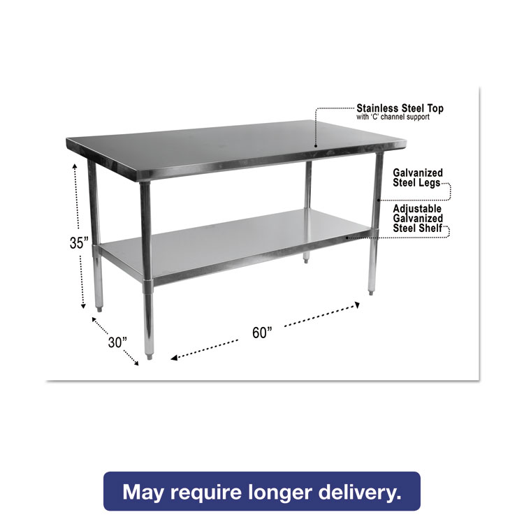 Alera® Stainless Steel Table, 60 x 30 x 35, Silver