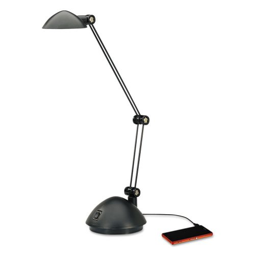 alera twin arm task led lamp with usb port 2 prong 18 1 2 high. Black Bedroom Furniture Sets. Home Design Ideas